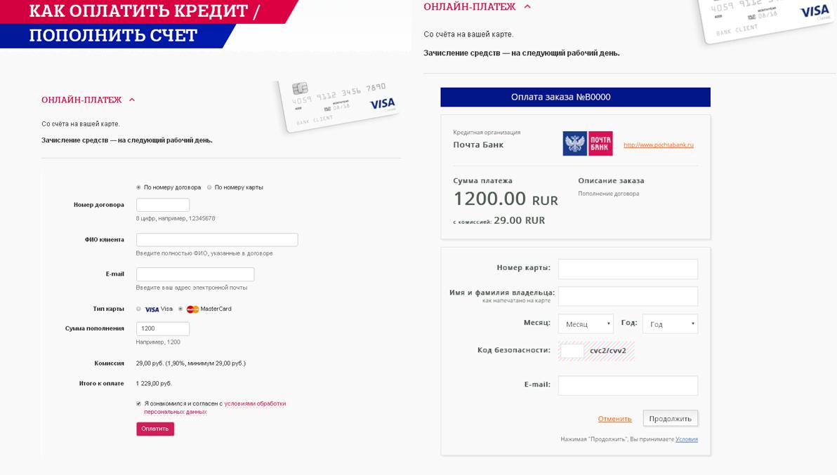 почта банк заплатить кредит онлайн по номеру